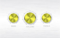 Gold volume treble bass knobs Stock Photo