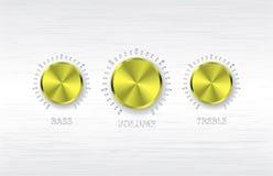 Gold volume treble bass knobs Stock Photo