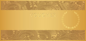 Gold Voucher (Gift certificate, Coupon ticket) Stock Photography