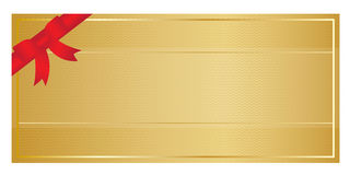 Gold Voucher With Red Ribbon Royalty Free Stock Images