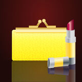 Gold wallet and lipstick Stock Photo