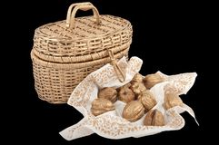 Gold walnuts Royalty Free Stock Image