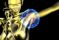 A gold warrior angel Royalty Free Stock Image