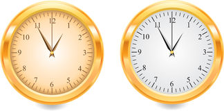 Gold watch. Two different clock in gold Royalty Free Stock Images