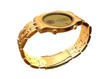 Gold watch. Computer image, gold watch 3D, isolated white background Royalty Free Stock Photos