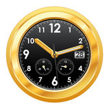 Gold watch with black face. Vector illustration of gold watch with black face Royalty Free Stock Photo