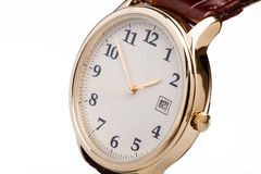 Gold watch leather strap Royalty Free Stock Image