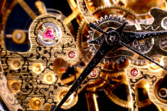Gold watch mechanism Royalty Free Stock Images