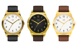 Gold watch. Es, three classic design expensive watch. Vector illustration Stock Photography