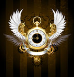 Gold watch with white wings Stock Image