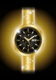 Gold watches. Gold black watches illustration background Stock Photos