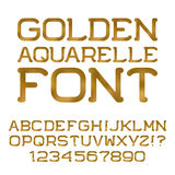 Gold watercolor letters and numbers. Golden aquarelle font Stock Photo