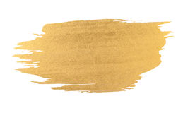 Gold watercolor texture brush stroke. Gold watercolor texture paint stain shining brush stroke Stock Photo