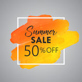 Gold Watercolor Vector of Summer Sale 50% off. Art Stock Image