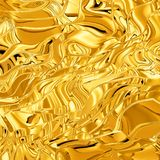 Gold wave 3D texture. 3D illustration of textured random waves of gold Stock Photos