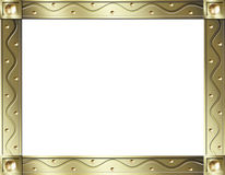 Gold wave frame. Metalic gold frame with studs and a raised wave pattern vector illustration