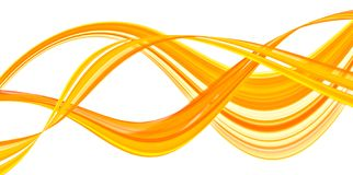 Gold waves. Translucent floating ribbons of gold Stock Photography