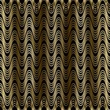 Gold waves 3d seamless pattern. Drapery curtains style patterned. Ornamental abstract background. Gold wavy lines ornament. 3d wallpaper. Design decor with Stock Illustration