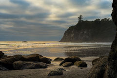 Gold waves on Ruby Beach. Golden waves from late afternoon sun break on Washington's Ruby Beach under clouds and mist Stock Images