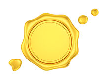 Gold wax seal. Render of a gold wax seal, isolated on white vector illustration