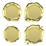 Gold wax seals set Stock Images