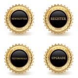 Gold Web Badges. Set of gold web commerce badges stock illustration