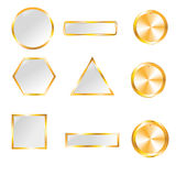Gold web buttons for design. Vector set Royalty Free Stock Images