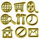 Gold web icons Stock Image
