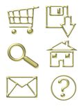 Gold Website Icons. Shopping Cart, Email, Home, Download, Magnify Glass, Questions vector illustration
