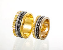 Gold wedding diamonds  rings Royalty Free Stock Photos