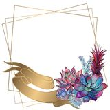 Gold wedding frame with peony flowers. Vector vector illustration
