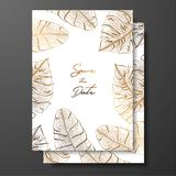 Gold wedding invitation with tropical leaves. Vector elements for design template. Gold tropical leaves for cards, wedding invites stock illustration