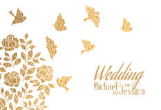 Gold wedding invitation. Vector illustration Stock Images