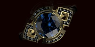 Gold Wedding Ring with diamond. On black background. Holiday symbol Royalty Free Stock Images