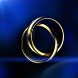 Gold Wedding Ring with diamond. On blue background. Holiday symbol Stock Image