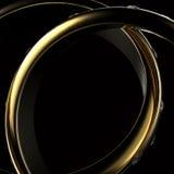 Gold Wedding Ring with diamond. On blue background. Holiday symbol Stock Photo