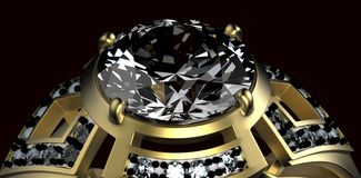 Gold Wedding Ring with diamond. Holiday symbol Royalty Free Stock Image