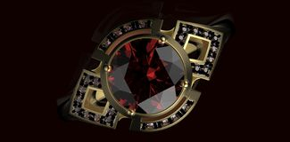 Gold Wedding Ring with diamond. Holiday symbol Stock Photography