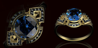 Gold Wedding Ring with diamond stock illustration