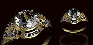 Gold Wedding Ring with diamond. Holiday symbol Stock Images