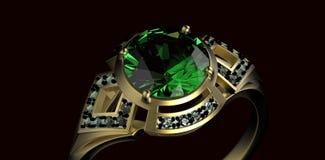 Gold Wedding Ring with diamond. Holiday symbol. Gold Wedding Ring with diamond on black background. Holiday symbol Royalty Free Stock Photos
