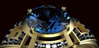 Gold Wedding Ring with diamond. Holiday symbol. Gold Wedding Ring with diamond on black background. Holiday symbol Royalty Free Stock Photography