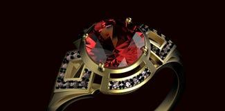 Gold Wedding Ring with diamond. Holiday symbol. Gold Wedding Ring with diamond on black background. Holiday symbol Royalty Free Stock Photo