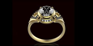 Gold Wedding Ring with diamond. Holiday symbol. Gold Wedding Ring with diamond on black background. Holiday symbol Royalty Free Stock Image