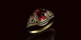 Gold Wedding Ring with diamond. Holiday symbol. Ruby gemstone Stock Photo