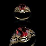 Gold Wedding Ring with diamond. Ruby gemstone Royalty Free Stock Photo