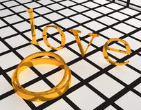 Gold wedding ring and love Stock Photo