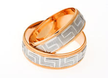 Two gold wedding rings Royalty Free Stock Photos