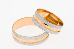 Two gold wedding rings Stock Photography