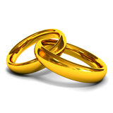 Gold Wedding Rings. On white background royalty free stock images